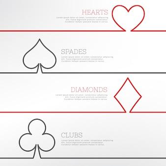 トランプのシンボルとカジノの背景