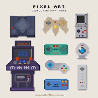 Types of consoles in pixel art style