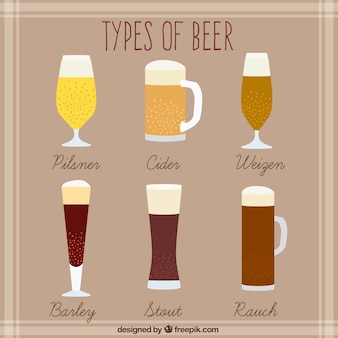 Types of hand drawn beer