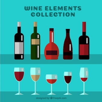 Types of wine bottles with glasses in flat design