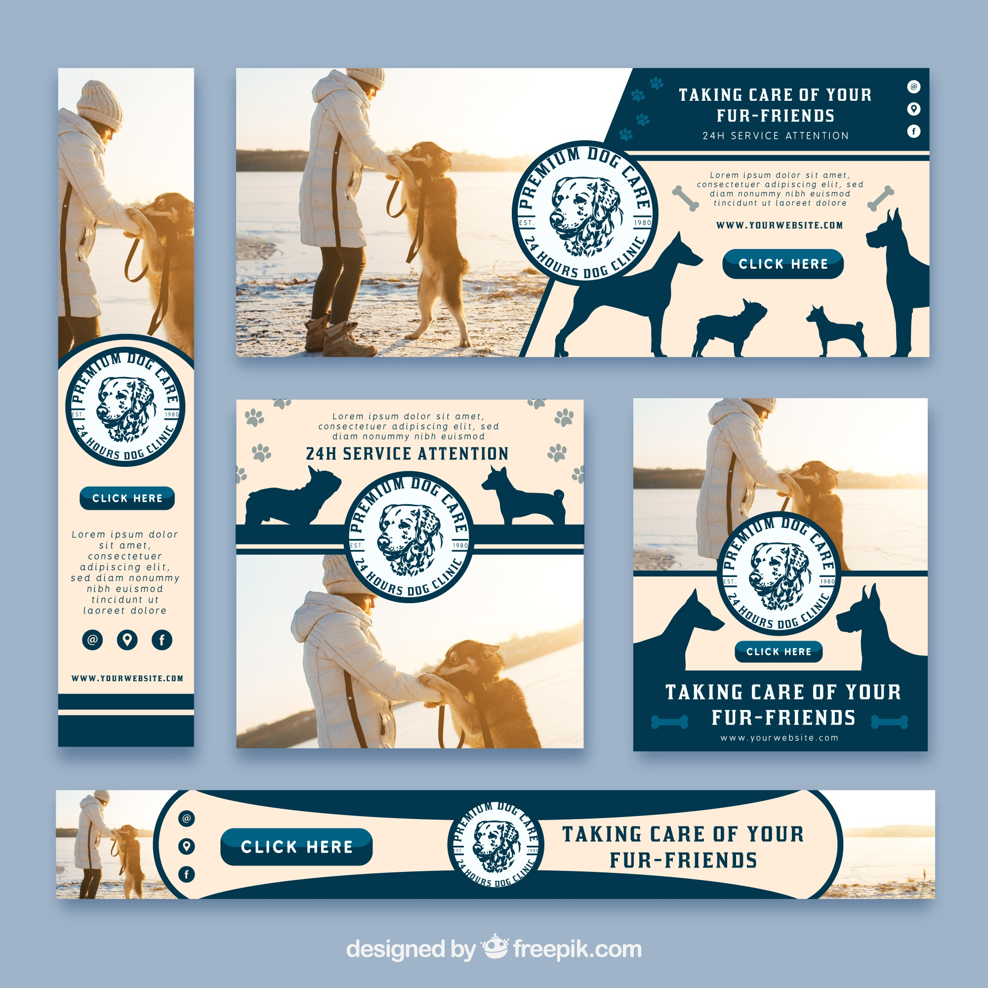 Types set of veterinary banners