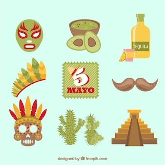 Typical mexican elements for may five