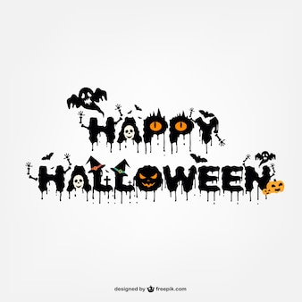 Typography halloween logo design