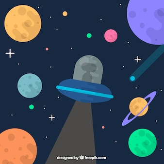Ufo background with planets in flat design