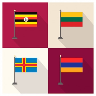 Uganda Lithuania Aland and Armenia Flags