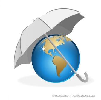 Umbrella on the earth
