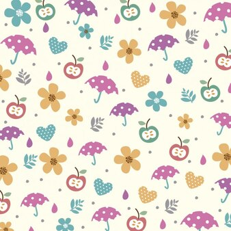 Umbrellas and apples background