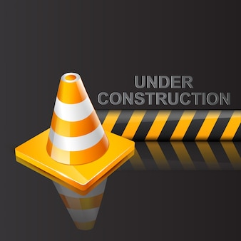 Under construction sign on dark background