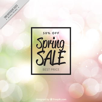 Unfocused bokeh background of spring sales