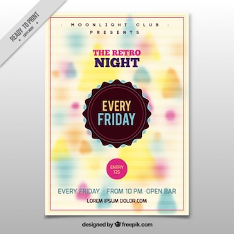 Unfocused colored shapes party flyer