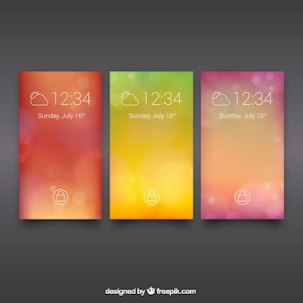 Unfocused mobile backgrounds with warm colors