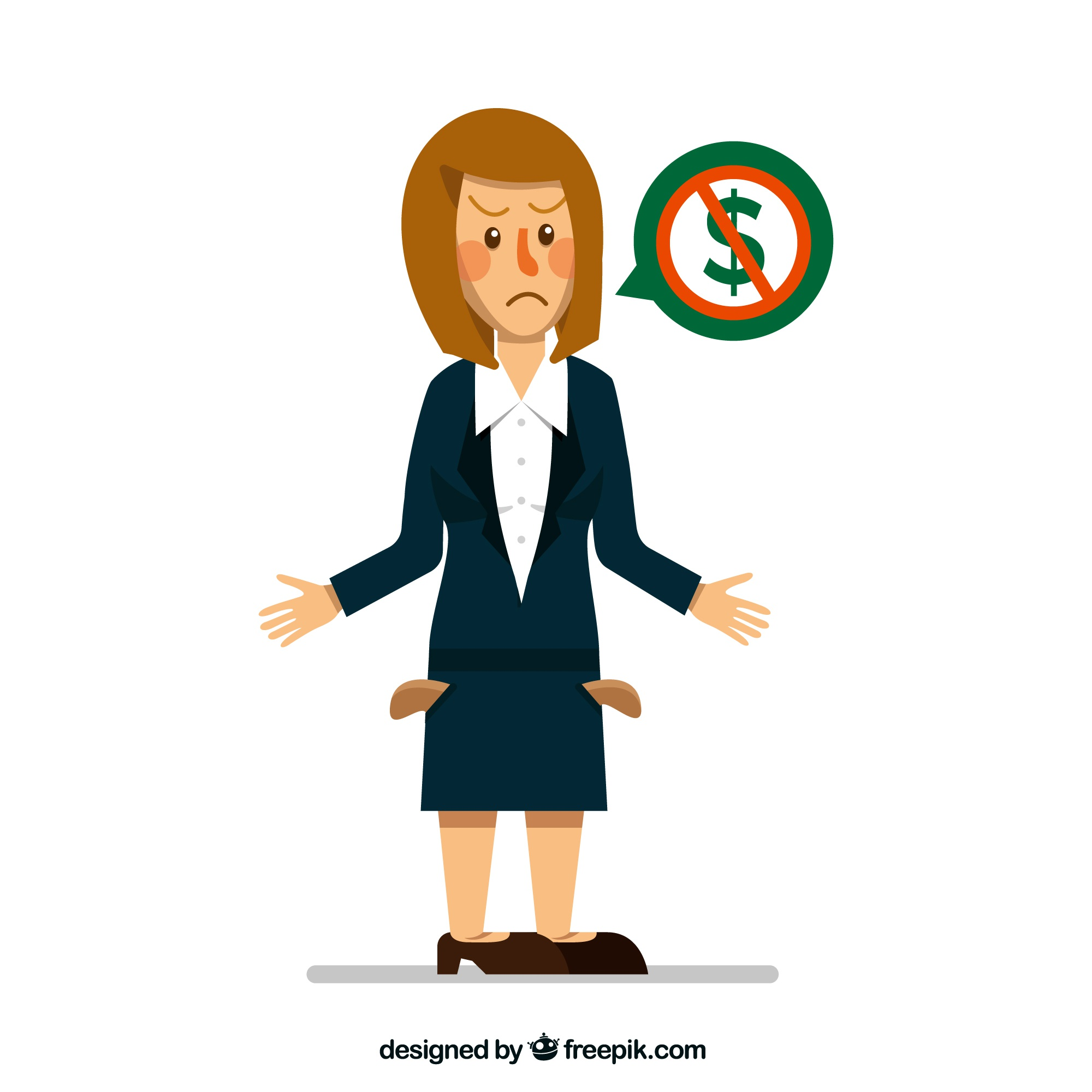Unhappy businesswoman without money