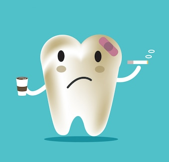 Unhealthy tooth with coffee and smoke