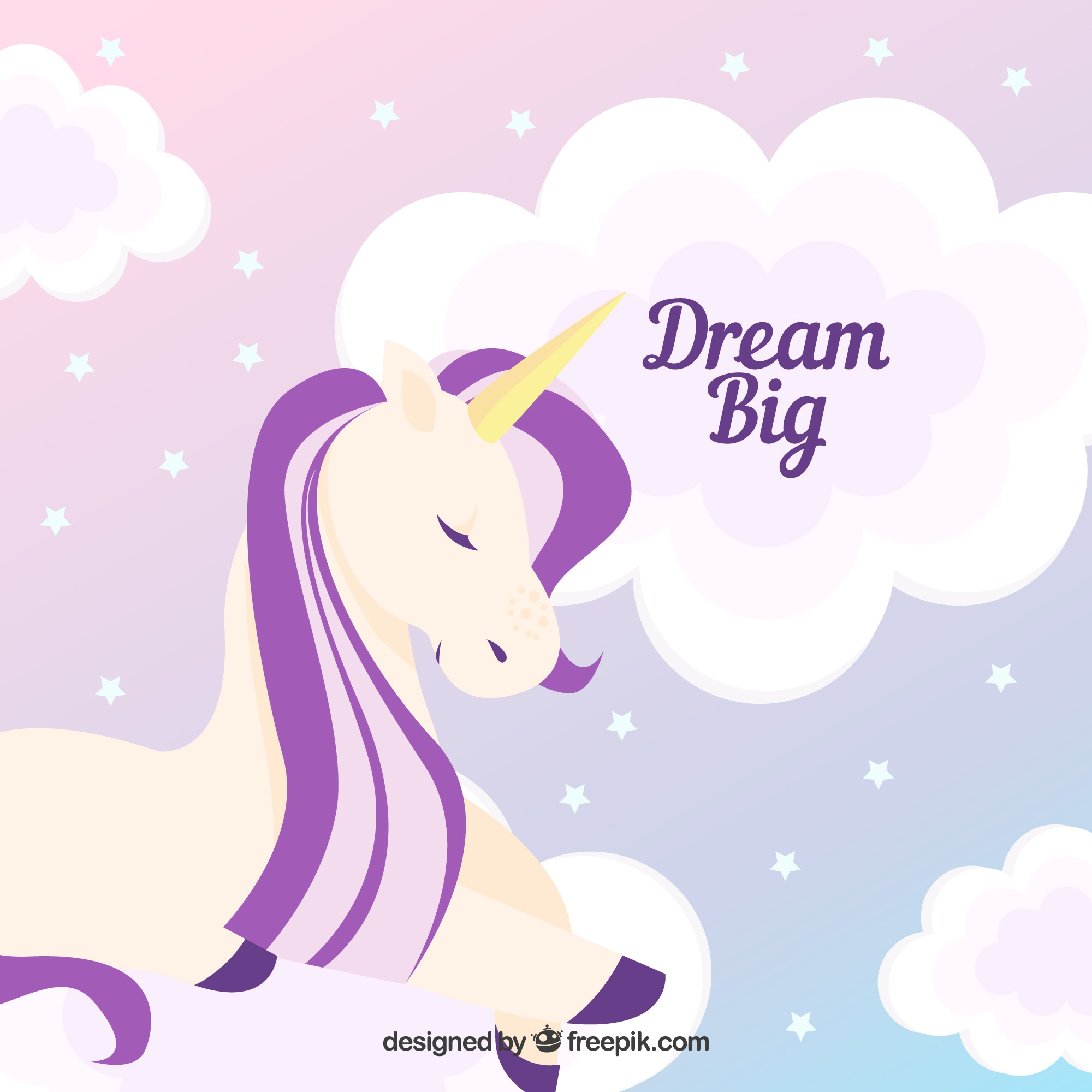 Unicorn and clouds background