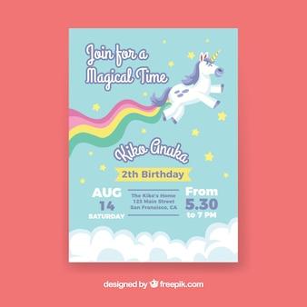 ユニコーンと虹の誕生日カード