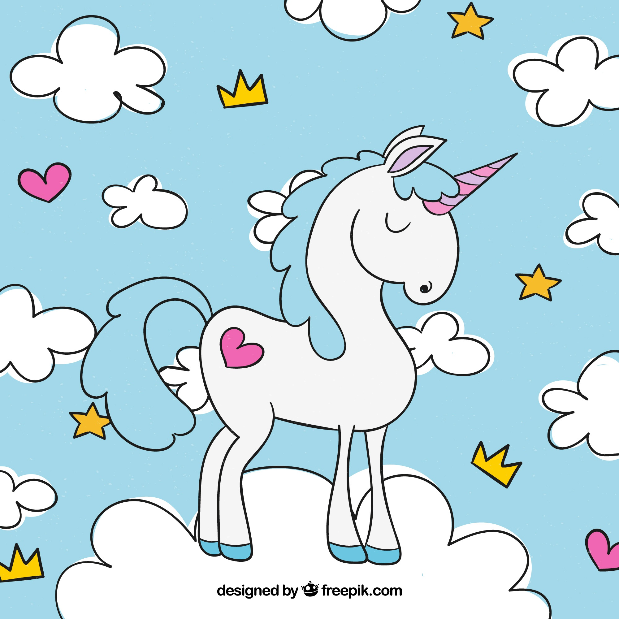 Unicorn background and hand drawn clouds