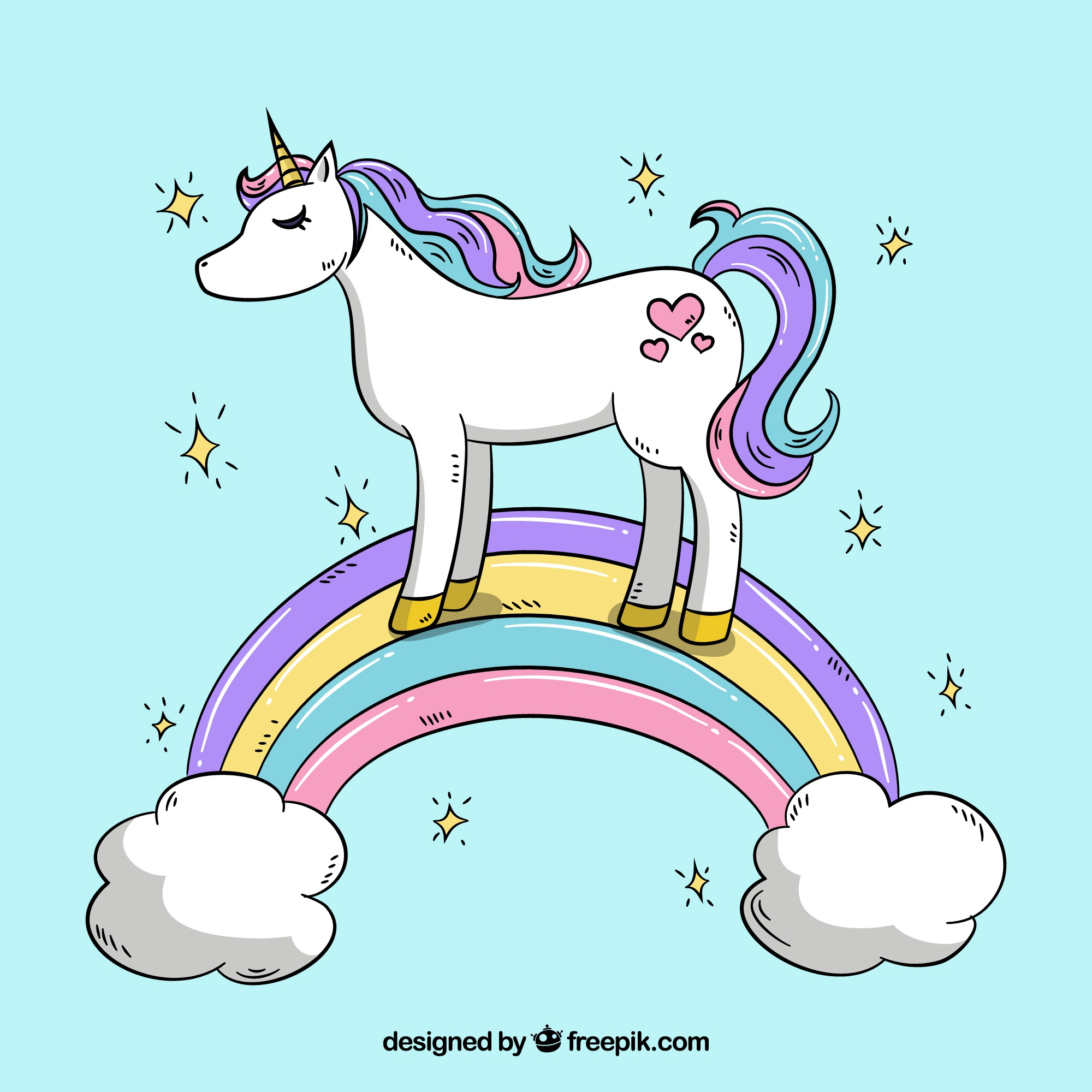 Unicorn background in a rainbow with clouds