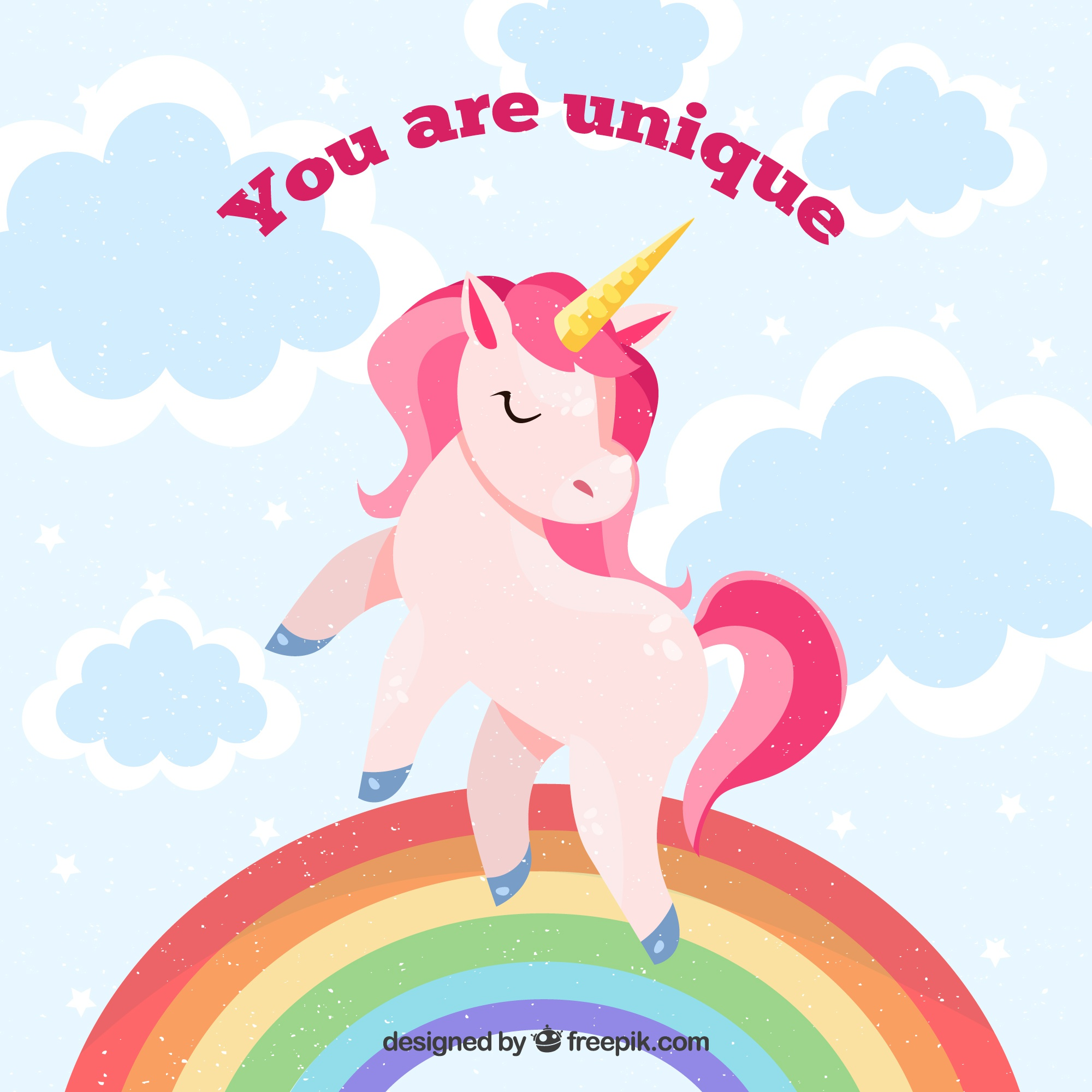 Unicorn background with rainbow and  you are unique  message