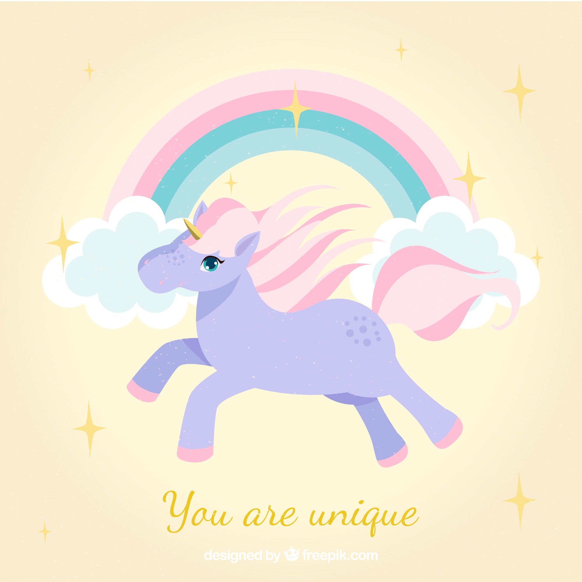Unicorn background with rainbows and clouds