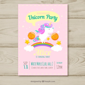Unicorn party birthday card