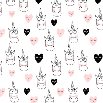 Unicorn pattern with hearts