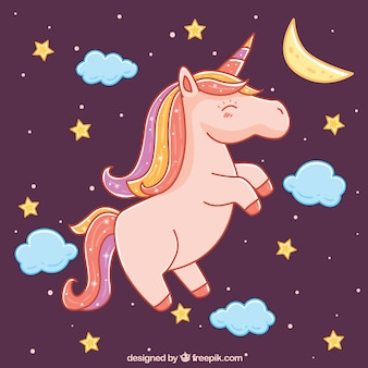 Unicorn with stars background