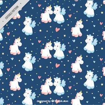 Unicorns in love pattern
