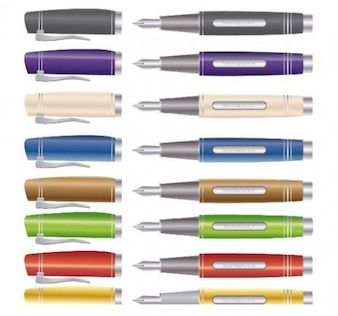 unique fancy fountain pens illustrator vector