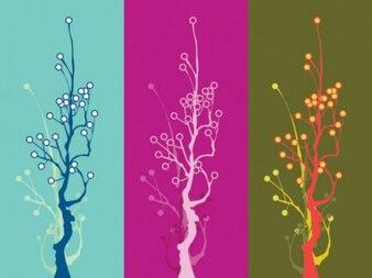 Unique tri-color trees vector modern art
