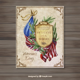 United States Watercolor Veteran Day Card