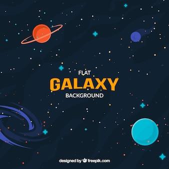 Universe background in flat design