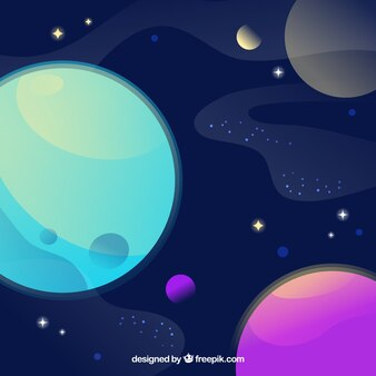 Universe background with colorful planets