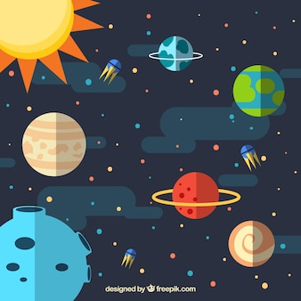 Universe background with planets and sun in flat design