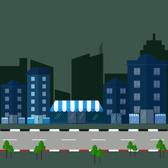 Urban landscape and city life Vector illustration.