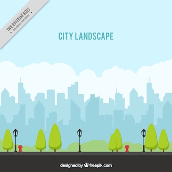 Urban landscape background with trees