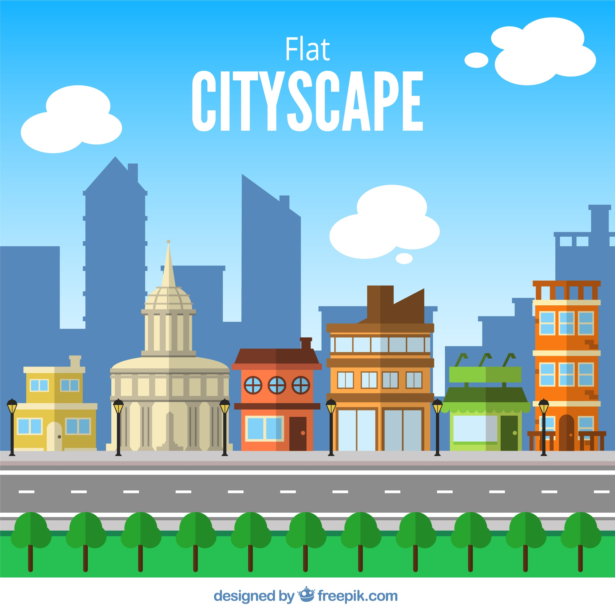 Urban landscape in flat design background with road