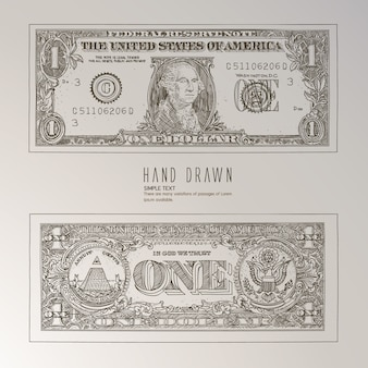Us dollar hand drawn