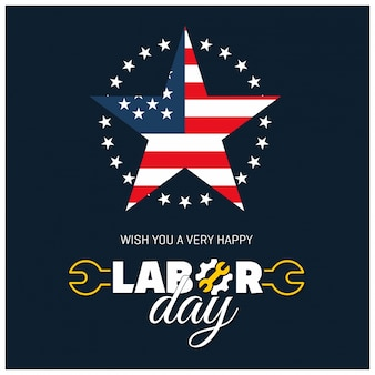 Us labor day illustration with star