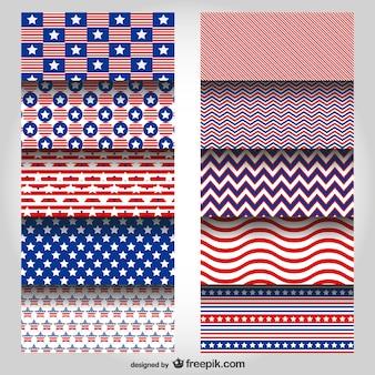 USA colors vector patterns set