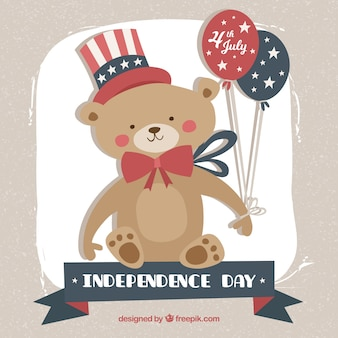 Usa independance day background with tedy bear