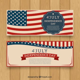 Usa independence day banner with flag background