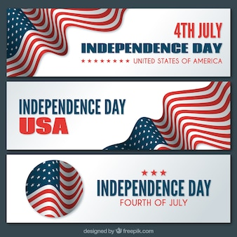 Usa independence day banner with flag