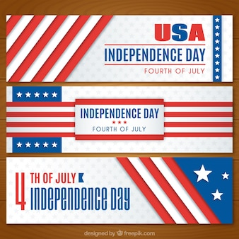 Usa independence day banners collection flag design