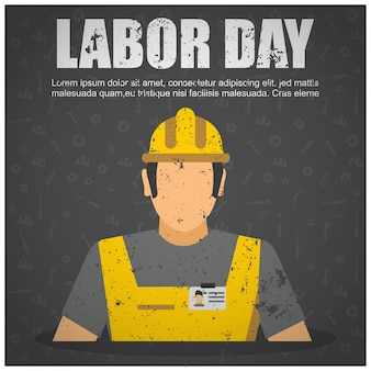 Usa labor day design with dirty worker