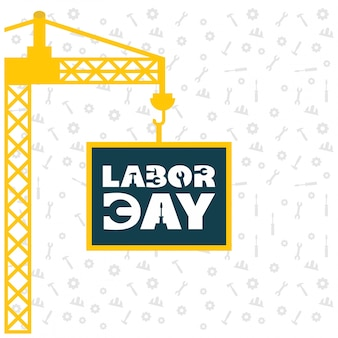 Usa labor day design with yellow crane