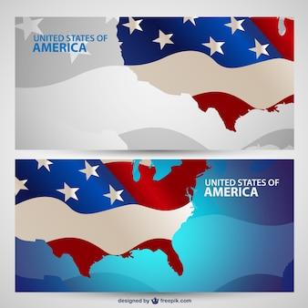 USA maps with flag banners