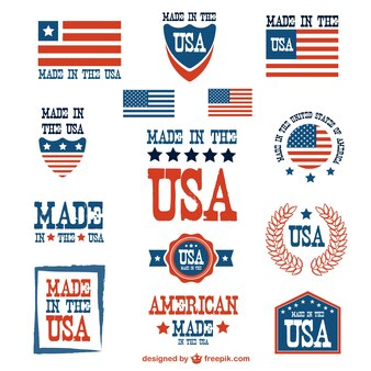 USA patriotic badges vector set
