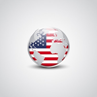 USA shiny button flag