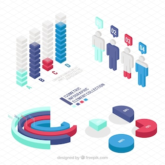 Useful elements for infographics in isometric design