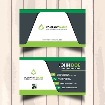 Useful green business card with geometric shapes